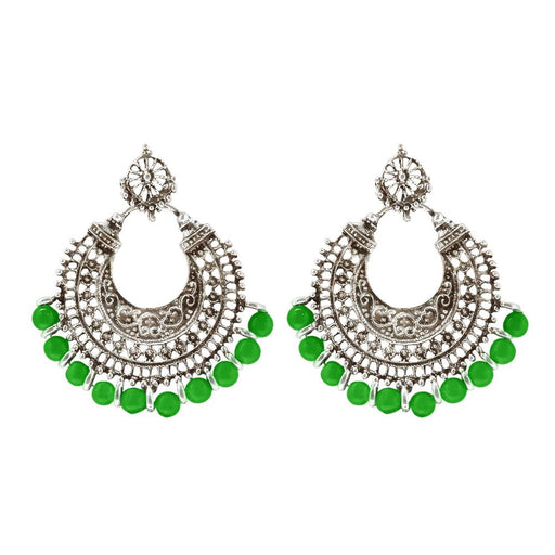 Jeweljunk Green Beads Silver Plated Afghani Earrings