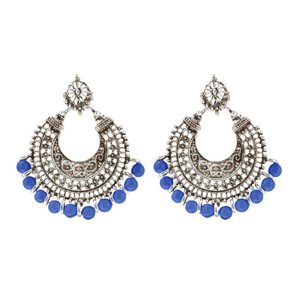 Jeweljunk Blue Beads Silver Plated Afghani Earrings