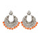 Jeweljunk Orange Beads Silver Plated Afghani Earrings