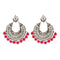 Jeweljunk Silver Plated Pink Beads Afghani Earrings