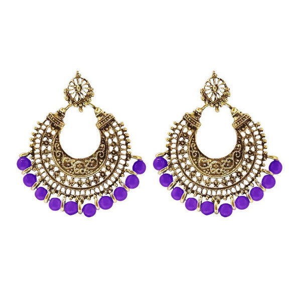 Jeweljunk Purple Beads Gold Plated Afghani Earrings