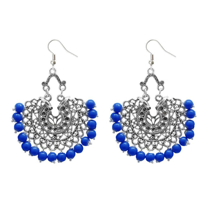 Jeweljunk Blue Beads Afghani Earrings