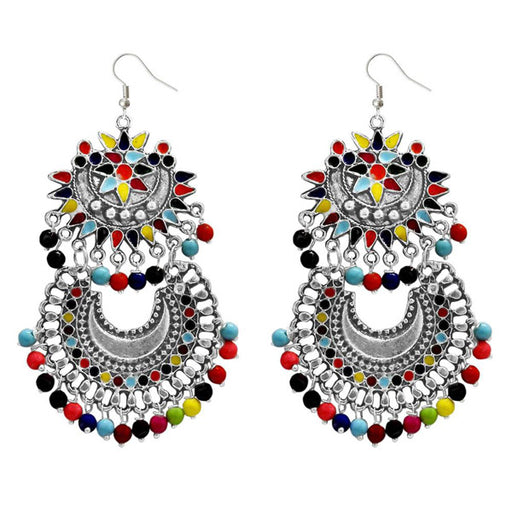 Jeweljunk Rhodium Plated Multi Beads Dangler Earrings