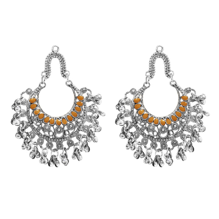 Jeweljunk Orange Pota Stone Rhodium Plated Afghani Earrings