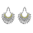 Jeweljunk Yellow Pota Stone Rhodium Plated Afghani Earrings