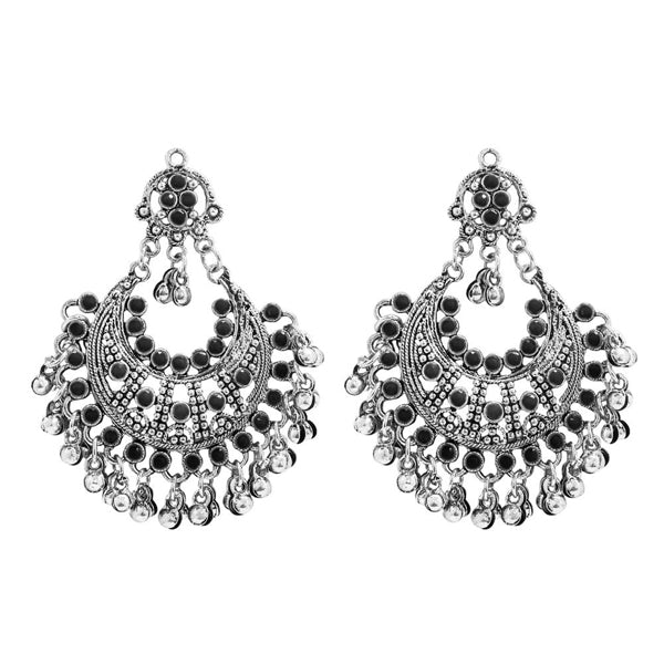 Jeweljunk Black Pota Stone Rhodium Plated Afghani Earrings