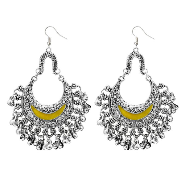 Jeweljunk Yellow Meenakari Rhodium Plated Afghani Earrings