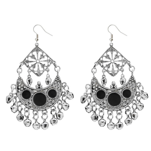 Jeweljunk Black Meenakari Rhodium Plated Afghani Earrings