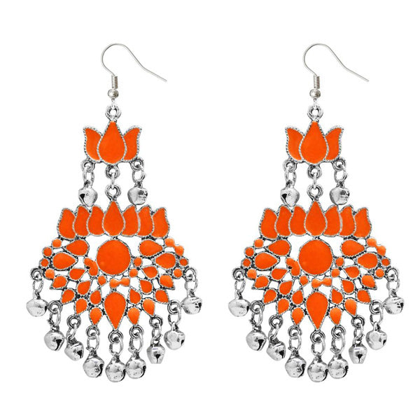 Jeweljunk Orange Meenakari Afghani Earrings