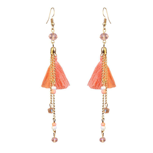 Jeweljunk Orange Gold Plated Thread Earrings
