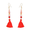 Jeweljunk Gold Plated Red Thread Earrings