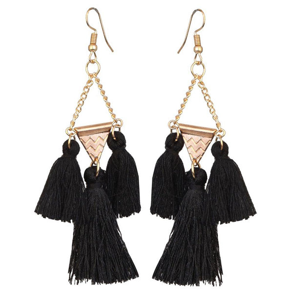 Jeweljunk Gold Plated Black Thread Earrings