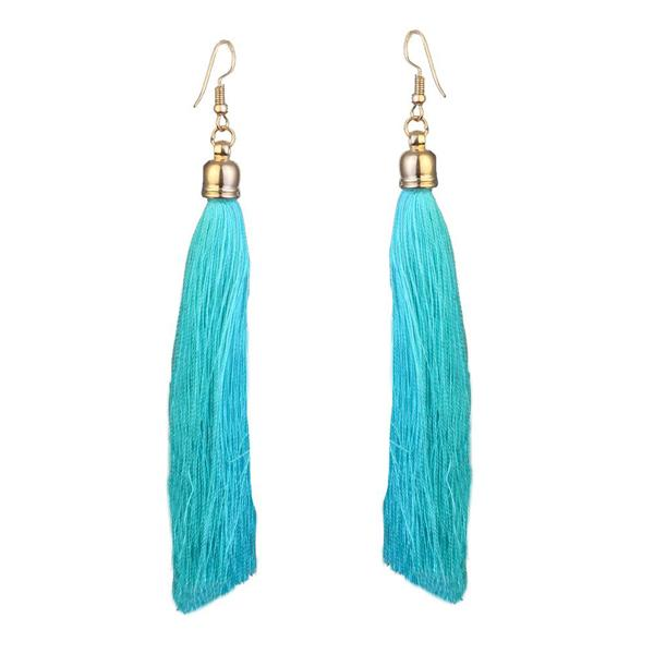 Jeweljunk Gold Plated Blue Thread Earrings
