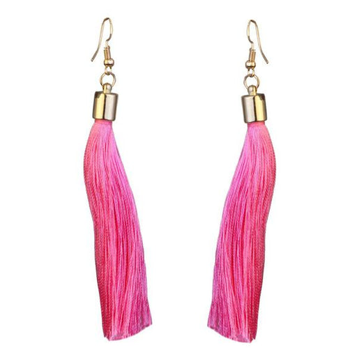 Jeweljunk Gold Plated Pink Thread Earrings