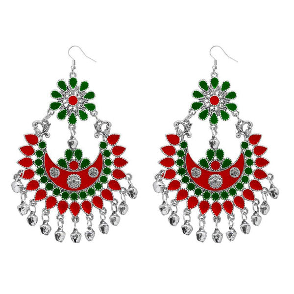 Jeweljunk Red & Green Meenakari Afghani Dangler Earrings