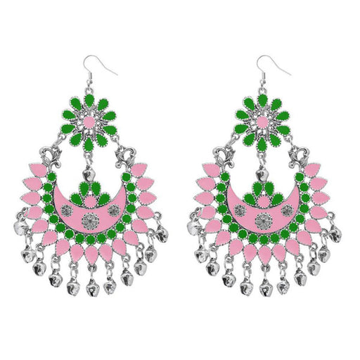 Jeweljunk Green & Pink Meenakari Afghani Earrings