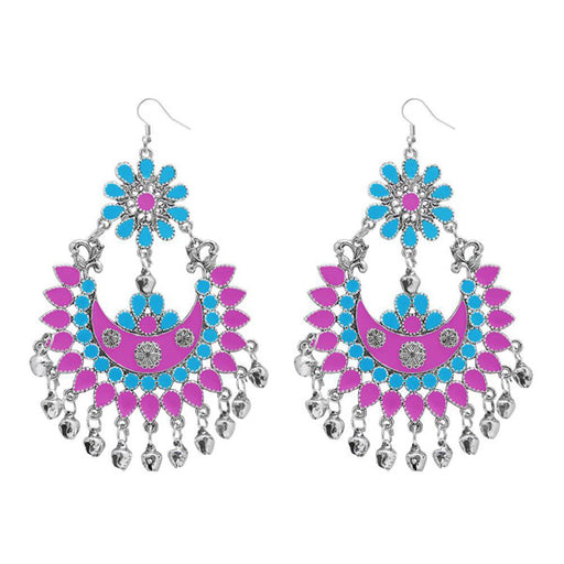 Jeweljunk Pink & Blue Meenakari Afghani Dangler Earrings