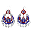 Jeweljunk Red & Blue Meenakari Afghani Dangler Earrings