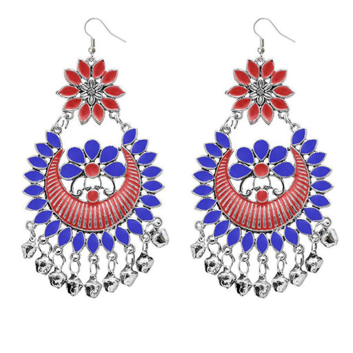 Jeweljunk Blue & Red Meenakari Afghani Dangler Earrings