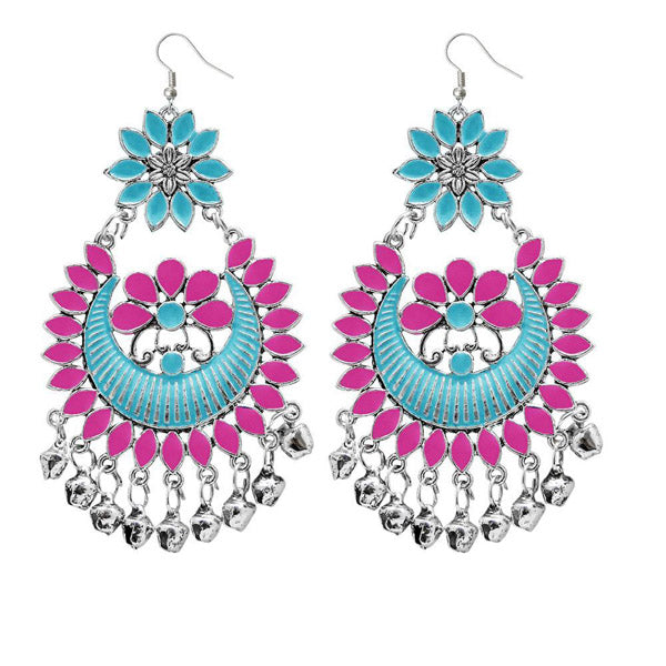 Jeweljunk Blue & Pink Meenakari Afghani Earrings