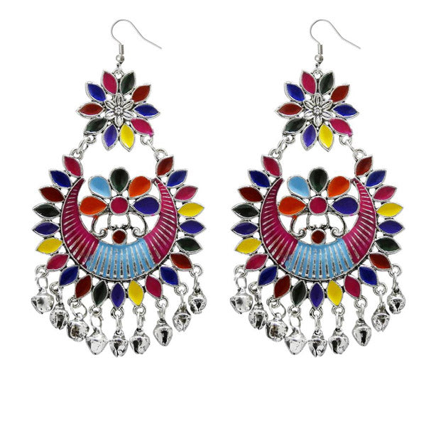 Jeweljunk Multi Meenakari Afghani Dangler Earrings