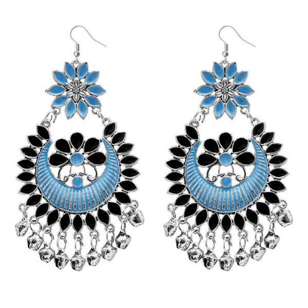 Jeweljunk Blue Meenakari Silver Plated Afghani Dangler Earrings