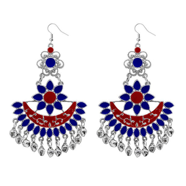 Jeweljunk Blue Meenakari Afghani Dangler Earrings