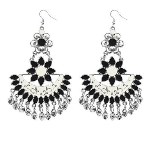 Jeweljunk Black Meenakari Afghani Dangler Earrings