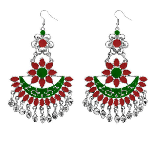 Jeweljunk Maroon & Green Meenakari Afghani Earrings
