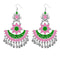 Jeweljunk Pink & Green Meenakari Afghani Earrings
