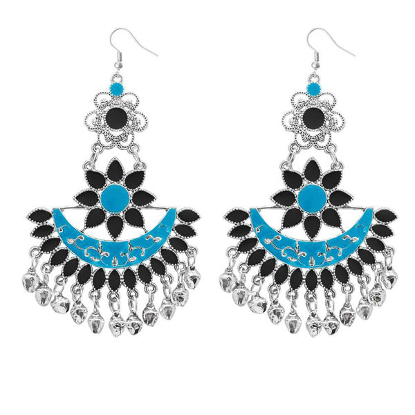 Jeweljunk Blue & Black Meenakari Afghani Earrings