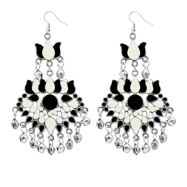 Jeweljunk White Meenakari Afghani Dangler Earrings