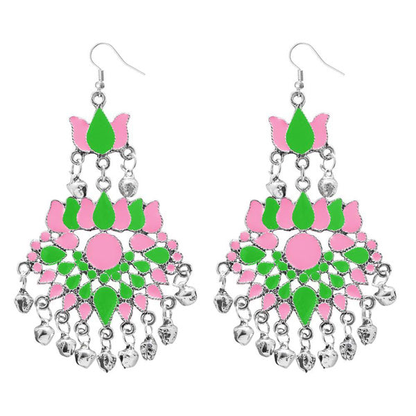 Jeweljunk Green Meenakari Afghani Dangler Earrings