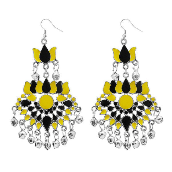 Jeweljunk Yellow & Black Meenakari Afghani Earrings