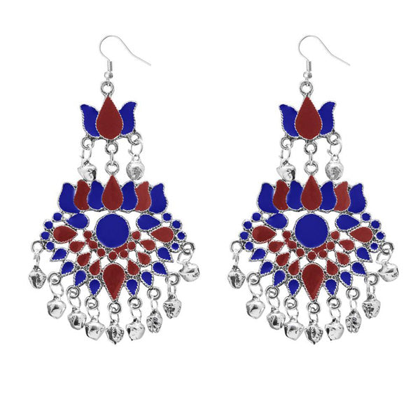 Jeweljunk Maroon & Blue Meenakari Afghani Earrings
