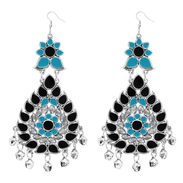 Jeweljunk Black & Blue Meenakari Afghani Earrings