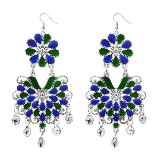Jeweljunk Blue & Green Meenakari Afghani Earrings