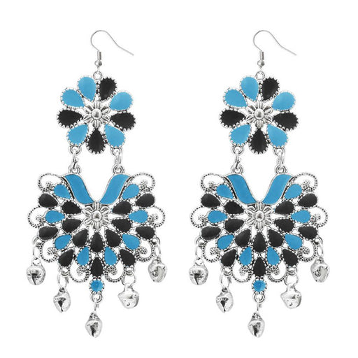 Jeweljunk Blue & Black Meenakari Afghani Dangler Earrings