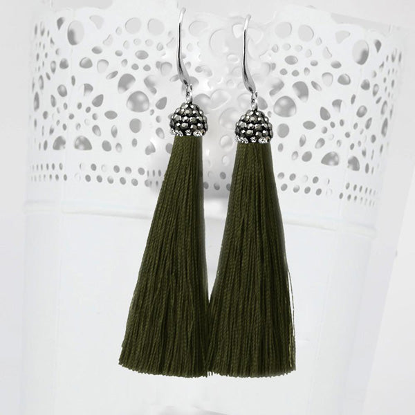 Jeweljunk Stone & Green Thread Earrings