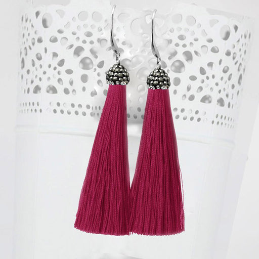 Jeweljunk Stone & Maroon Thread Earrings
