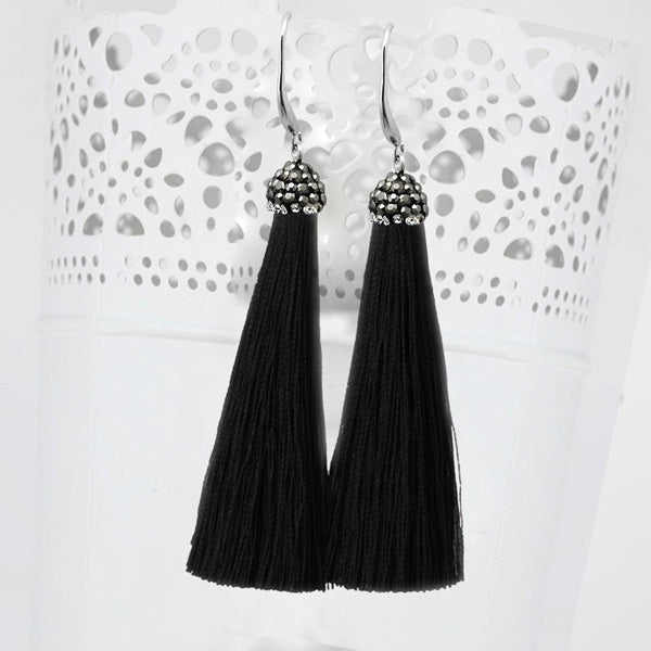 Jeweljunk Stone & Black Thread Tassel Earrings