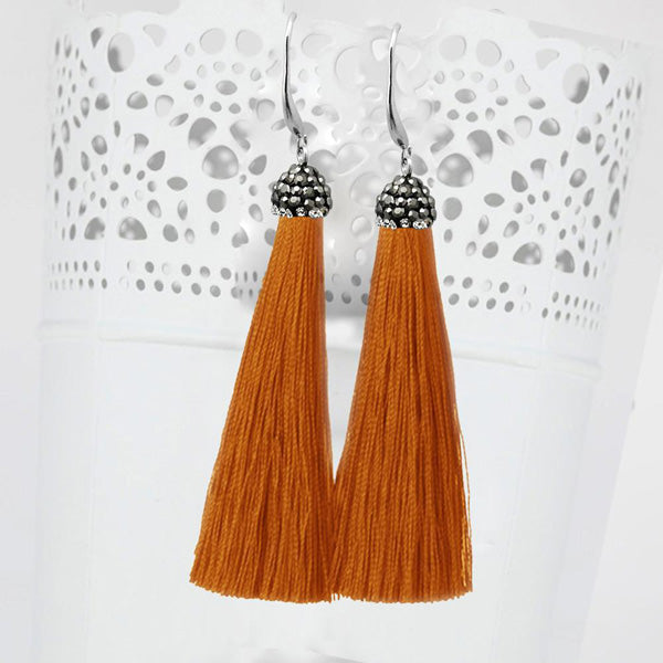 Jeweljunk Rhodium Plated Stone & Orange Thread Earrings