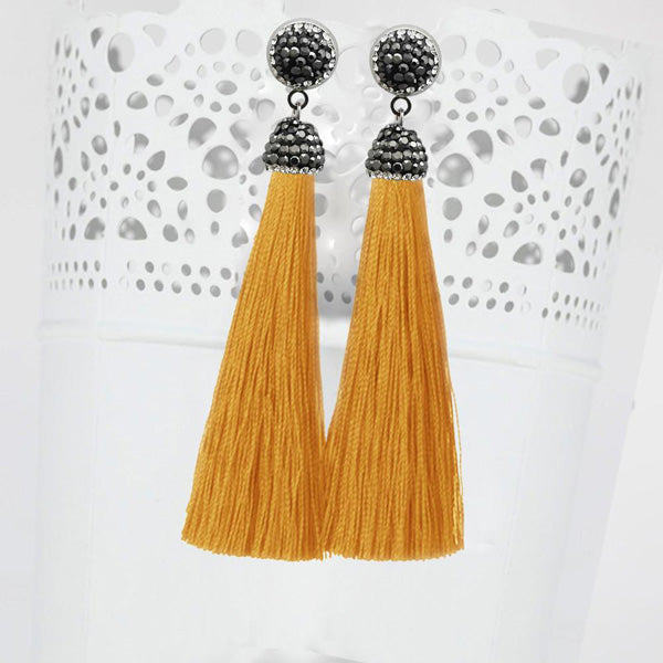 Jeweljunk Stone & Yellow Thread Rhodium Plated Tassel Earrings