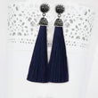 Jeweljunk Stone & Blue Thread Rhodium Plated Tassel Earring