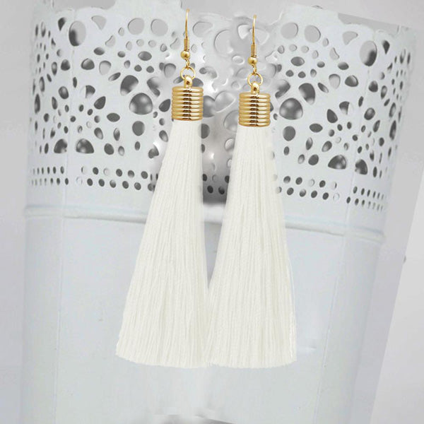 Jeweljunk White Thread Gold Plated Tassel Earrings