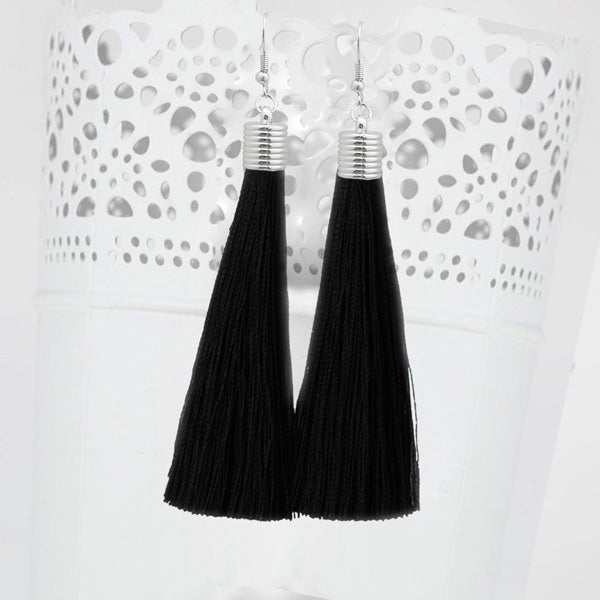 Jeweljunk Black Thread Rhodium Plated Tassel Earrings