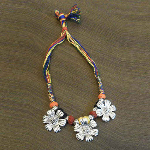 Jeweljunk Multicolour Thread Floral Design Tribal Necklace