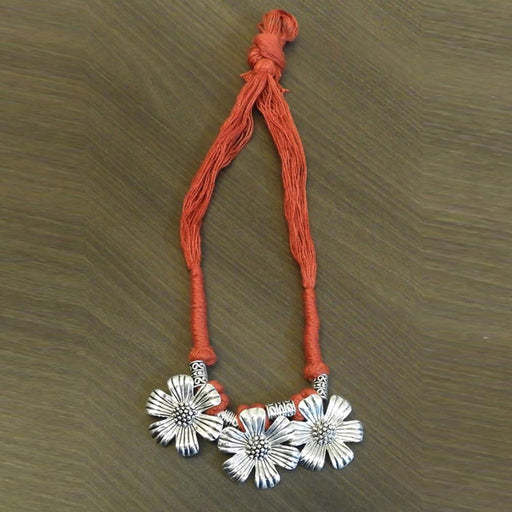 Jeweljunk Orange Thread Floral Design Tribal Necklace