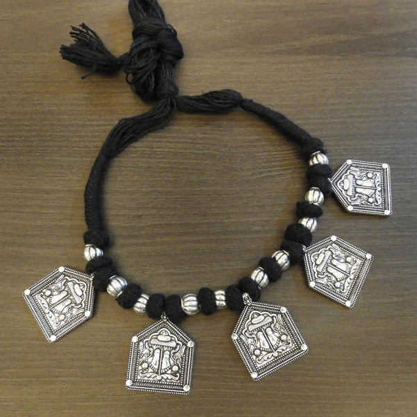 Jeweljunk Black Thread Silver Plated Tribal Necklace