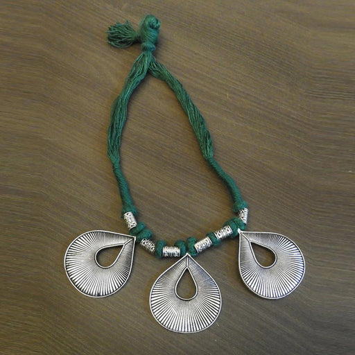 Jeweljunk Silver Plated Green Thread Tribal Necklace